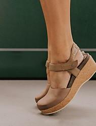 cheap -Women's Sandals Flat Heel Round Toe PU Summer Black / Brown