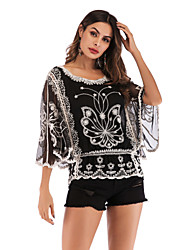 cheap -Women's Daily Basic / Elegant Blouse - 3D Butterfly, Patchwork / Jacquard / Embroidered Black