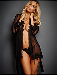 cheap -Women's Lace / Mesh Sexy Robes Nightwear Solid Colored / Floral / Jacquard Black White S M L