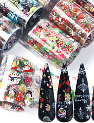 cheap -10pcs Christmas Decorations for Nails Mix Colorful Transfer Nail Foil Sticker Snow Flower Elk Gift Santa Adhesive Paper