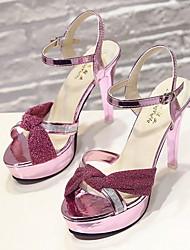 cheap -Women's Sandals Stiletto Heel Peep Toe PU Summer Black / Gold / Pink