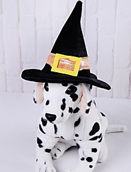 cheap -Dogs Bandanas & Hats Wizard Hat Winter Dog Clothes Black Halloween Costume Polyster Solid Colored Holiday S