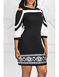 cheap -Women's Elegant Slim Sheath Dress - Color Block Blue Black Red XXXL XXXXL XXXXXL