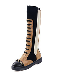 cheap -Women's Boots Knee High Boots Platform Round Toe PU Knee High Boots Casual / British Winter Black / White / Black / Yellow