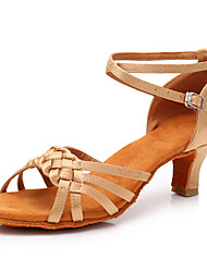 cheap -Women's Dance Shoes Satin Latin Shoes Heel Cuban Heel Black / Brown / White