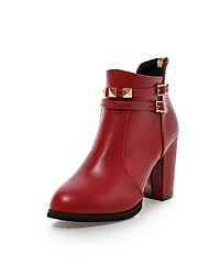 cheap -Women's Boots Chunky Heel Pointed Toe Rivet PU Booties / Ankle Boots Classic Fall & Winter Black / Red / Party & Evening