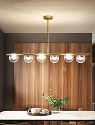 cheap -6 Heads 98cm LED Pendant Light Nordic Island Light Metal Glass Island Painted Finishes Dining Room Bar 110-120V 220-240V