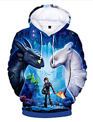 abordables -Enfants Bébé Garçon Basique Imprimé Imprimé Manches Longues Pull à capuche & Sweatshirt Bleu