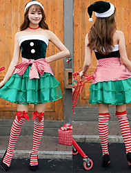cheap -Santa Suit Cosplay Costume Outfits Masquerade Adults' Women's Cosplay Christmas Halloween Festival / Holiday Polyster Green Women's Carnival Costumes / Dress / Apron / Hat / Neckwear