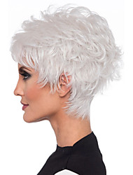 cheap -Synthetic Wig Straight Layered Haircut Wig Short Creamy-white Brown Synthetic Hair 8inch Women's Odor Free Normal Fashionable Design White Brown / Heat Resistant / Heat Resistant