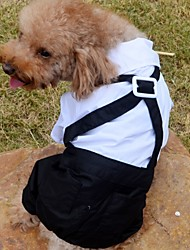 cheap -Dogs Suit Dog Clothes White Costume Polyster Color Block Wedding S M L XL XXL