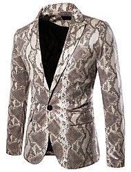 cheap -Men's Blazer, Leopard Shirt Collar Polyester Gray