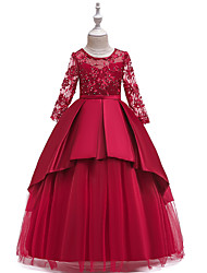 cheap -Ball Gown / A-Line Maxi Wedding / Formal Evening / Pageant Flower Girl Dresses - Cotton Blend / Lace 3/4 Length Sleeve Jewel Neck with Lace / Sash / Ribbon / Pleats