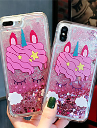 cheap -Case For Apple iPhone XS / iPhone XR / iPhone XS Max Flowing Liquid / Pattern / Glitter Shine Back Cover Animal / Cartoon TPU