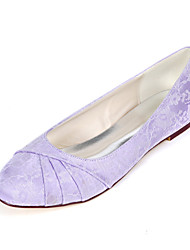 cheap -Women's Wedding Shoes Flat Heel Round Toe Lace Sweet Fall / Spring & Summer White / Ivory / Light Purple / Party & Evening