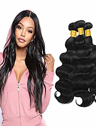 cheap -3 Bundles Peruvian Hair Body Wave Virgin Human Hair Remy Human Hair Natural Color Hair Weaves / Hair Bulk Extension Bundle Hair 8-28 inch Natural Color Human Hair Weaves Easy to Carry Cool Human Hair