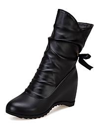 cheap -Women's Boots Hidden Heel Round Toe Bowknot PU Mid-Calf Boots Casual Fall & Winter Black / White / Beige