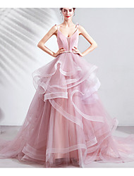 cheap -A-Line Plunging Neck Court Train Tulle Cute Formal Evening Dress 2020 with Tassel