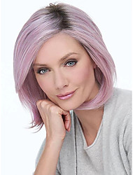 Недорогие -Парики из искусственных волос Прямой Стрижка боб Свободная часть Парик Короткие Фиолетовый Искусственные волосы 12inch Жен. Модный дизайн Регулируется Жаропрочная Фиолетовый
