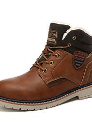 cheap -Men's Comfort Shoes PU Winter Casual Boots Walking Shoes Warm Black / Brown / Light Brown