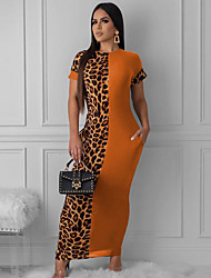 cheap -Women's Maxi Orange Black Dress Sheath Leopard S M
