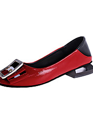 cheap -Women's Flats Low Heel Round Toe PU Casual Fall Black / Red / Beige