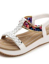 cheap -Women's Sandals Flat Heel Round Toe Cowhide Summer Black / White / Pink