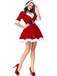 cheap -Santa Claus Christmas Dress Adults' Women's Christmas Festival / Holiday Knitting Drak Red Women's Carnival Costumes / Belt