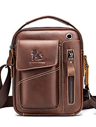 cheap -Men's Zipper Cowhide Crossbody Bag Black / Dark Brown / Coffee