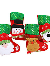 cheap -4PcsChristmas Stocking Chrismas Decoration Sock for Home Christmas Tree Ornaments Gift Holders Stockings New Year Gift Bags