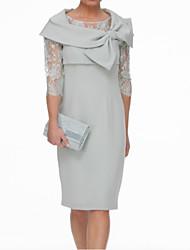 abordables -Fourreau / Colonne Bijoux Mi-long Dentelle / Satin Manches 3/4 Echarpe incluse Robe de Mère de Mariée  avec Noeud(s) / Ruché 2020