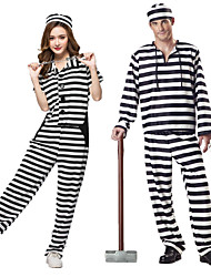 cheap -Prisoner Cosplay Costume Outfits Masquerade Adults' Couple's Cosplay Halloween Halloween Festival / Holiday Polyster Black / White Couple's Carnival Costumes