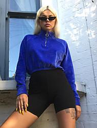 cheap -Women's Cropped Streetwear Velour Running Crop Top Winter High Neck Running Fitness Breathable Warm Soft Sportswear Zip Top Top Long Sleeve Activewear Stretchy / Velvet / Fleece