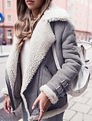 cheap -Women's Daily Fall & Winter Regular Faux Fur Coat, Solid Colored Turndown Long Sleeve Faux Fur Black / Fuchsia / Gray