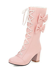 cheap -Women's Boots Chunky Heel Round Toe Bowknot / Ribbon Tie Faux Leather Mid-Calf Boots Casual / Sweet Walking Shoes Spring &  Fall / Fall & Winter Black / White / Pink