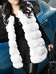 abordables -Femme Quotidien Automne hiver Normal gilet, Couleur Pleine Col en V Sans Manches Fausse Fourrure Noir / Blanche / Violet