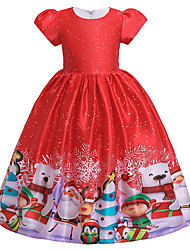 cheap -Kids Toddler Girls' Active Cute Santa Claus Snowman Color Block Snowflake Christmas Pleated Lace up Print Short Sleeve Midi Dress Red