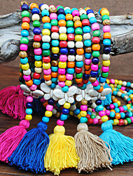 cheap -Pendant Necklace Necklace Long Necklace Women's Tassel Fringe Blue Green Orange Wood Butterfly Ethnic Fashion Vintage Trendy Boho Yellow Rose Red Dark Blue Coffee Light Blue 90 cm Necklace Jewelry 1pc