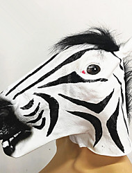 cheap -Pretty Halloween zebra head latex mask horse rubber masks soft horse hair mask full face mask costume accessories