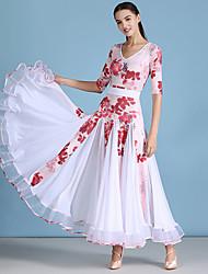 cheap -Ballroom Dance Dresses Women's Training Spandex / Tulle Pattern / Print / Ruching / Split Joint Half Sleeve Dress