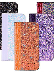 cheap -Case For Apple Applicable to Xs Max Leather Case Flip Cover XR/X Mobile Phone Case 6/7/8 Glitter Powder Crocodile Pattern 6Plus/7Plus/8Plus Card Mobile Phone Holster