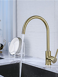cheap -Single Handle One Hole Brushed Gold Standard Spout / Tall / High Arc Centerset Contemporary Kitchen Taps