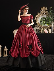 cheap -Maria Antonietta Rococo Victorian Summer Dress Party Costume Masquerade Women's Off Shoulder Costume Burgundy Vintage Cosplay Party Masquerade Short Sleeve Floor Length Ball Gown