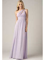 cheap -A-Line One Shoulder Floor Length Chiffon Bridesmaid Dress with Ruching