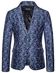 cheap -Men's Blazer, Geometric Shirt Collar Cotton / Polyester Yellow / Red / Navy Blue