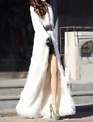 cheap -Women's Daily Fall & Winter Regular Faux Fur Coat, Solid Colored Turndown Long Sleeve Faux Fur Black / White