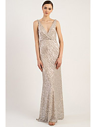 cheap -Sheath / Column Plunging Neck Sweep / Brush Train Sequined Bridesmaid Dress with Sequin / Sparkle & Shine