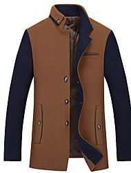 cheap -Men's Daily Regular Jacket, Color Block Stand Long Sleeve Polyester Wine / Gray / Khaki