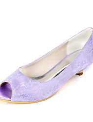 cheap -Women's Wedding Shoes Kitten Heel Peep Toe Minimalism Wedding Party & Evening Lace Floral White Light Purple Ivory