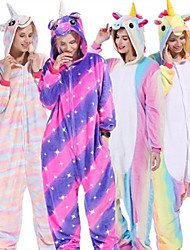 cheap -Adults' Kigurumi Pajamas Unicorn Pony Onesie Pajamas Flannel Toison Brown / White+Blue / White+Pink Cosplay For Men and Women Animal Sleepwear Cartoon Festival / Holiday Costumes / Leotard / Onesie